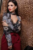 леопардовый топ с кружевом. Леопард-цепи майка Виктория-1П. Цвет: принт в интернет-магазине