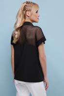 белая блузка со вставками. блуза Сафо к/р. Цвет: черный купить