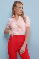 голубая блузка с рюшами. блуза Маргарита к/р. Цвет: персик в интернет-магазине