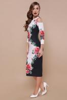 платье миди с вырезами на плечах. Розы платье Лила д/р. Цвет: черный купить