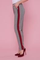 брюки в клетку с лампасами. брюки Крис. Цвет: клетка-бордо отделка в Украине
