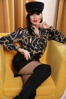 черная блузка с принтом. Перья-цепи блуза Эльвира д/р. Цвет: принт цена