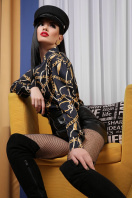черная блузка с принтом. Перья-цепи блуза Эльвира д/р. Цвет: принт в интернет-магазине