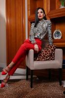 леопардовая блузка с воротником стойкой. Леопард блуза Эльвира д/р. Цвет: принт цена
