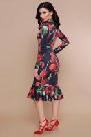 цветочное платье с воланом внизу. Тюльпаны красные платье Фаина д/р. Цвет: черный купить