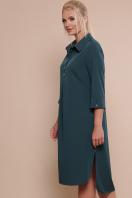 батальное платье рубашечного кроя. платье-рубашка Власта-Б 3/4. Цвет: изумруд купить