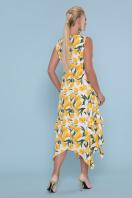 цветастый сарафан больших размеров. сарафан Сабина-Б. Цвет: белый-тюльпаны желтые в интернет-магазине