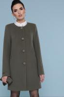 изумрудное пальто без воротника. Пальто П-337-К. Цвет: 7438-оливка цена