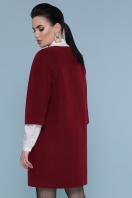 серое пальто без воротника. Пальто П-355. Цвет: 936+162- бордо в интернет-магазине