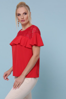 голубая блузка батал. блуза Мелания-Б к/р. Цвет: красный купить