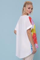 туника с цветами больших размеров. Цветы туника Лиона-Б к/р. Цвет: белый в интернет-магазине