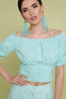 белая укороченная блузка. блуза Янина к/р. Цвет: мята в интернет-магазине
