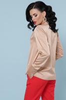 шелковая бежевая блузка. блуза Эльвира-2 д/р. Цвет: бежевый в интернет-магазине