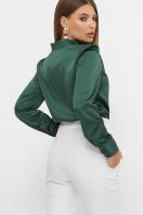 шелковая бежевая блузка. блуза Эльвира-2 д/р. Цвет: изумруд цена
