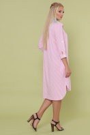 платье-рубашка больших размеров. платье Валентия-Б 3/4. Цвет: розовая м. полоска в интернет-магазине