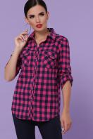 малиновая рубашка в клетку. блуза Пальмира д/р. Цвет: клетка малиновый-синий купить