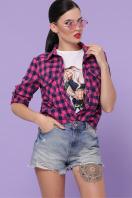 малиновая рубашка в клетку. блуза Пальмира д/р. Цвет: клетка малиновый-синий в интернет-магазине