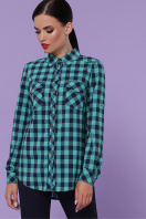 голубая рубашка в клетку. блуза Пальмира д/р. Цвет: клетка мята-синий купить