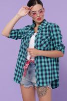 хлопковая рубашка в клетку. блуза Пальмира д/р. Цвет: клетка мята-синий цена