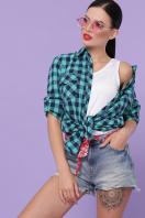 голубая рубашка в клетку. блуза Пальмира д/р. Цвет: клетка мята-синий в интернет-магазине