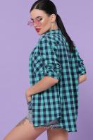 хлопковая рубашка в клетку. блуза Пальмира д/р. Цвет: клетка мята-синий в Украине