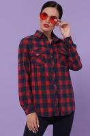 голубая рубашка в клетку. блуза Пальмира д/р. Цвет: клетка красн-зелен-синий купить