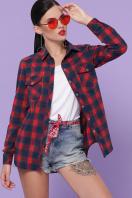 хлопковая рубашка в клетку. блуза Пальмира д/р. Цвет: клетка красн-зелен-синий цена