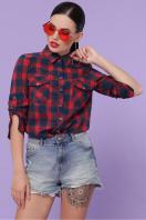 голубая рубашка в клетку. блуза Пальмира д/р. Цвет: клетка красн-зелен-синий в интернет-магазине