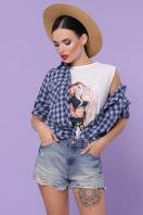хлопковая рубашка в клетку. блуза Пальмира д/р. Цвет: клетка синий-голуб-красн в интернет-магазине