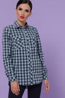 малиновая рубашка в клетку. блуза Пальмира д/р. Цвет: клетка синий-мята-красн купить