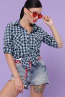 голубая рубашка в клетку. блуза Пальмира д/р. Цвет: клетка синий-мята-красн в интернет-магазине