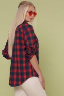 клетчатая рубашка больших размеров. блуза Пальмира-Б д/р. Цвет: клетка красн-зелен-синий цена