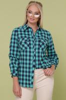 рубашка в клетку для пышных женщин. блуза Пальмира-Б д/р. Цвет: клетка мята-синий купить