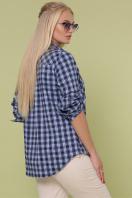 клетчатая рубашка больших размеров. блуза Пальмира-Б д/р. Цвет: клетка синий-голуб-красн цена