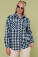 рубашка в клетку для пышных женщин. блуза Пальмира-Б д/р. Цвет: клетка синий-мята-красн купить