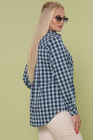 рубашка в клетку для пышных женщин. блуза Пальмира-Б д/р. Цвет: клетка синий-мята-красн цена