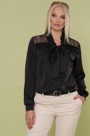шелковая блузка больших размеров. блуза Роксана-Б д/р. Цвет: черный купить