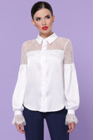 белая блузка с кружевом. блуза Фарида д/р. Цвет: белый купить