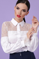 белая блузка с кружевом. блуза Фарида д/р. Цвет: белый цена