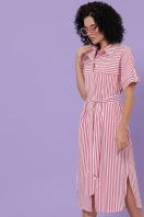 летнее платье-рубашка. платье-рубашка Дарья-3 к/р. Цвет: коралл полоска купить