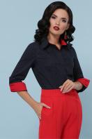 синяя офисная рубашка. блуза Вендис д/р. Цвет: синий-бел.м.горох-красн купить
