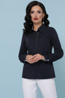 синяя офисная рубашка. блуза Вендис д/р. Цвет: синий-бел.м.горох-белый купить