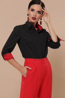 женская рубашка в горошек. блуза Вендис д/р. Цвет: черный-бел.м.горох-красн цена