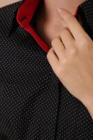 синяя офисная рубашка. блуза Вендис д/р. Цвет: черный-бел.м.горох-красн в интернет-магазине