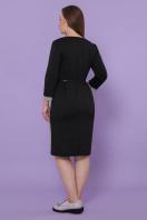 батальное платье для офиса. платье Каталея-Б д/р. Цвет: черный-клетка сер-розов в интернет-магазине