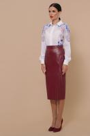 синяя кожаная юбка. юбка мод. №40. Цвет: бордо в интернет-магазине