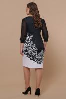 батальное черно-белое платье. Цветы черно-белые платье Талса-1Б д/р. Цвет: черный в интернет-магазине