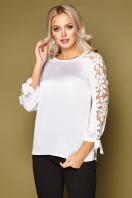 черная блузка с розами. блуза Флавия 3/4. Цвет: белый купить