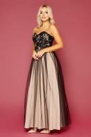 пышное платье с открытыми плечами. платье Макария б/р. Цвет: черный-бежевый купить