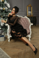 платье цвета электрик с сеткой. платье Алина д/р. Цвет: черный недорого
